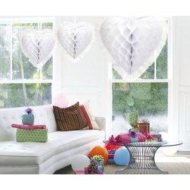 Wit Honeycomb Decoratie Hart