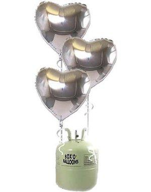 Heliumfles met 20x Zilveren Hartjes Folieballonnen
