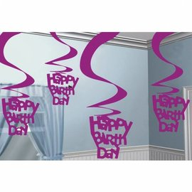 Roze Happy Birthday Swirl Versiering