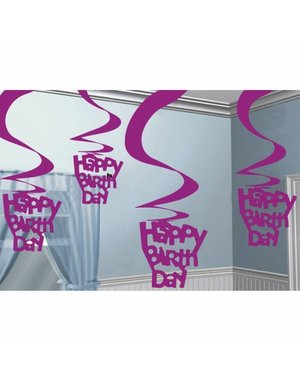 Roze Happy Birthday Swirl Versiering