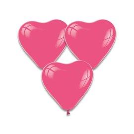 Fuchsia Roze Hartjes Ballonnen 10 stuks