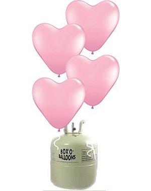 Helium Tank Roze Latex Hartjes - 20 stk