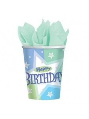8x Lichtblauwe Happy Birthday Bekers