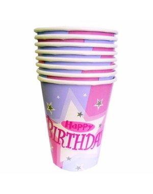 8x Lichtroze Happy Birthday Bekers
