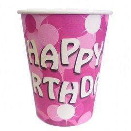 8x Roze Happy Birthday Bekers met Stippen