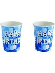 8x Blauwe Happy Birthday Bekers met Stippen