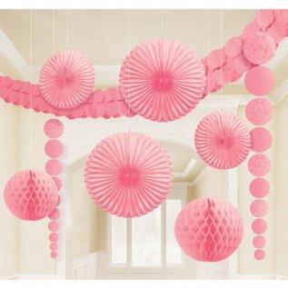 Lichtroze Honeycomb Waaiers Paper Fans 45cm