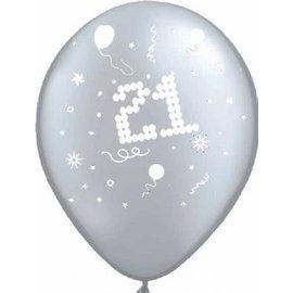 10x Zilver 21ste Verjaardag Helium Ballonnen