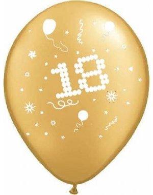 50x Gouden 18e Verjaardag Helium Ballonnen