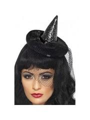 Zwarte Mini Heksenhoed op Diadeem