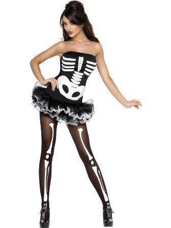 0e5f625ead6989 Sexy Halloween Jurk Skeletten Print - Feestperpost