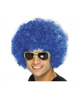 Funky Blauwe Afro Unisex Pruik