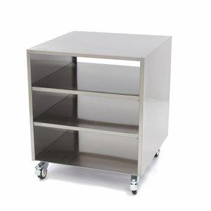 Maxima Edelstahl Maschinentisch / Rahmen auf Rädern 60 x 60 cm
