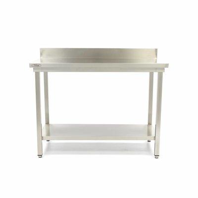 Maxima Roestvrijstalen Werktafel 'Deluxe' met achteropstand 1400 x 600 mm