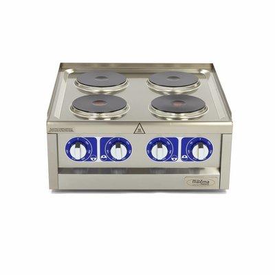 Maxima Professionele Horeca Kookplaat - 4 Pitten - Elektrisch- 60 x 60 cm