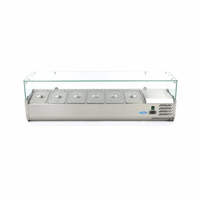 Maxima Aufsatszkühlvitrine / Gekühlte Aufsatzvitrine 150 cm - 1/3 GN