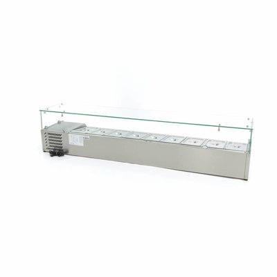 Maxima Aufsatszkühlvitrine / Gekühlte Aufsatzvitrine 200 cm - 1/3 GN