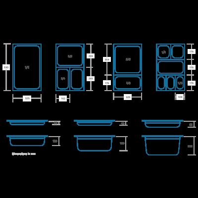 Maxima Gastronorm Bak RVS 1/6GN | 65mm | 176x162mm