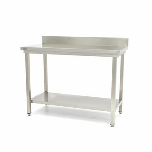Maxima Stainless Steel Workbench 'Deluxe' 600 x 600 mm with backsplash