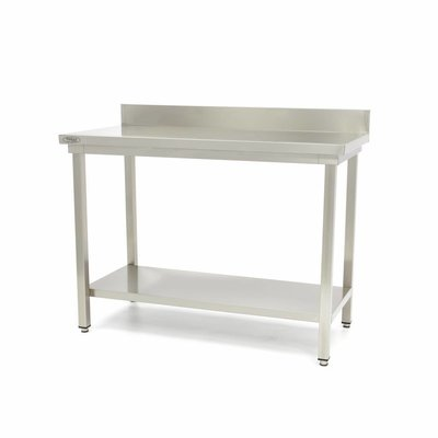 Maxima Stainless Steel Workbench 'Deluxe' with backsplash 600 x 600 mm