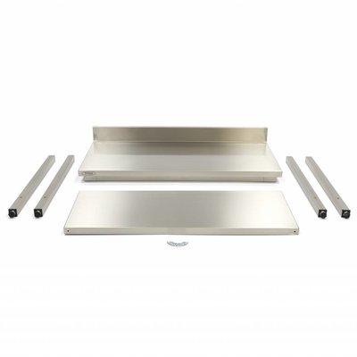 Maxima Roestvrijstalen Werktafel 'Deluxe' met achteropstand 2000 x 600 mm