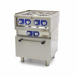 Maxima Professionele Horeca Fornuis - 4 Pitten - Met Oven - Elektrisch - 60 x 60 cm