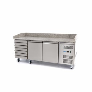 Maxima Refrigerated Pizza Table - 2 Doors - 7 Drawers - 202 cm