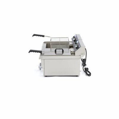 Maxima Horeca Friteuse / Frituurpan 2 x 16L Elektrisch met Tapkraan