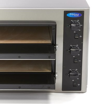 Maxima Deluxe Pizza Oven 4 + 4 x 25 cm Double 400V