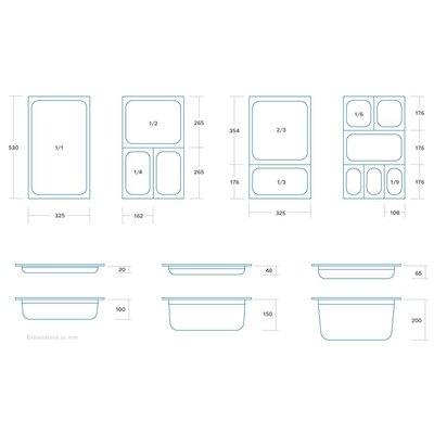 Maxima Gastronormbehälter aus Edelstahl 1/6GN | 150mm | 176x162mm