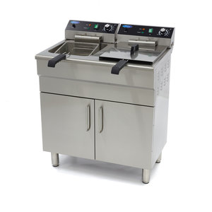 Maxima Electric Fryer 2 x 16L with Faucet and Cupboard