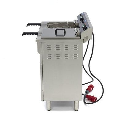 Maxima Horeca Friteuse / Frituurpan 2 x 16L Elektrisch met Tapkraan en Onderstel