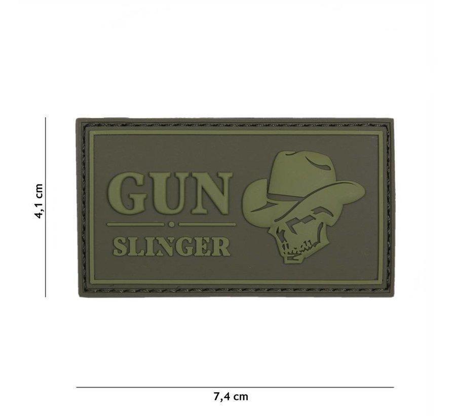 Gun Slinger Skull Cowboy Patch (Olive)