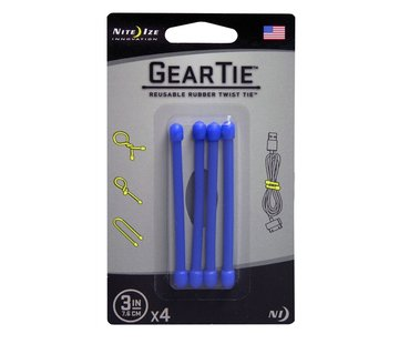 "Nite Ize Gear Tie 3"" 4Pack (Blue)"