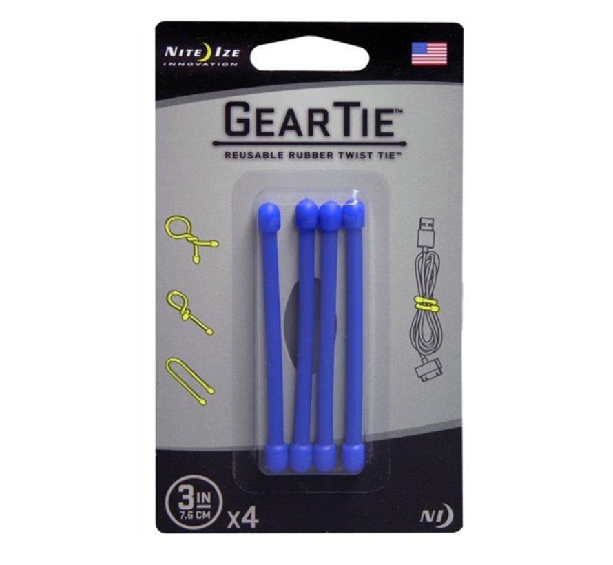 """Gear Tie 3"""" 4Pack (Blue)"""