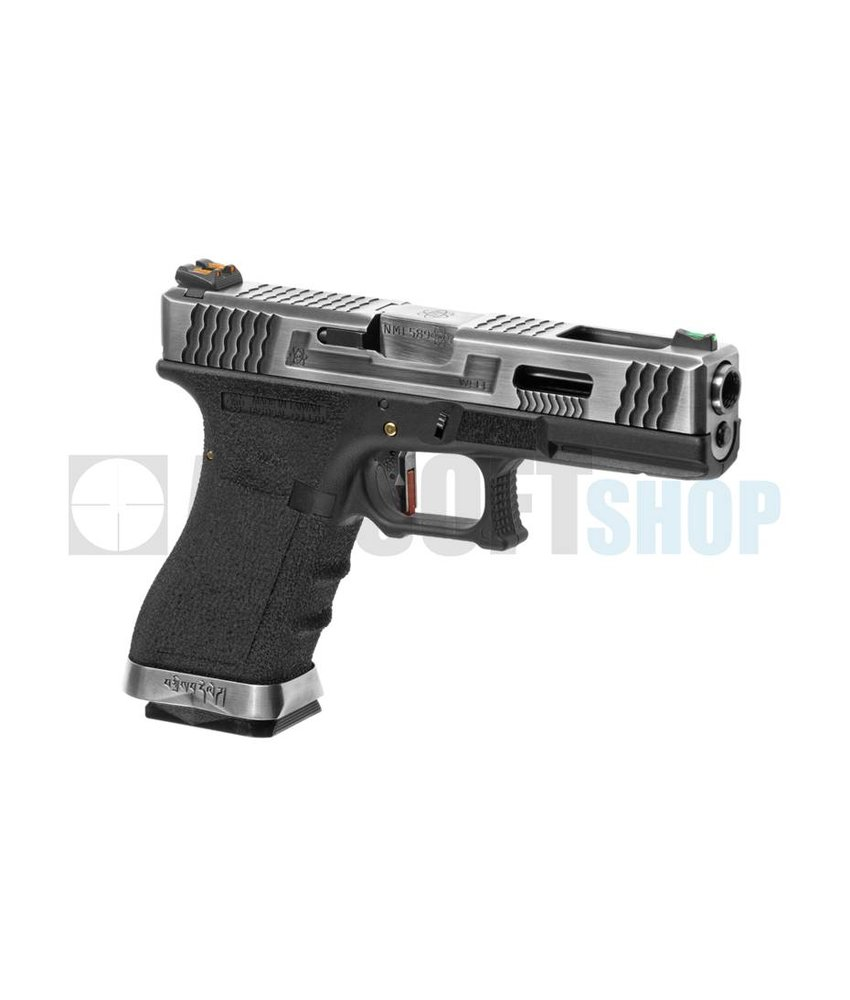 WE WE17 Custom SV Silver Barrel GBB (Black)