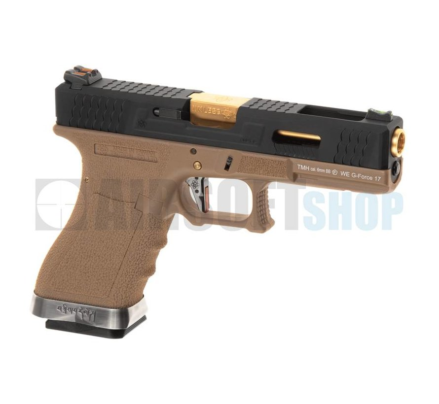 WE17 Custom BK Gold Barrel GBB (Desert)