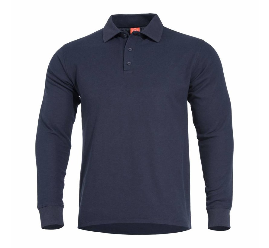 Aniketos Polo Long Sleeve Shirt (Navy Blue)