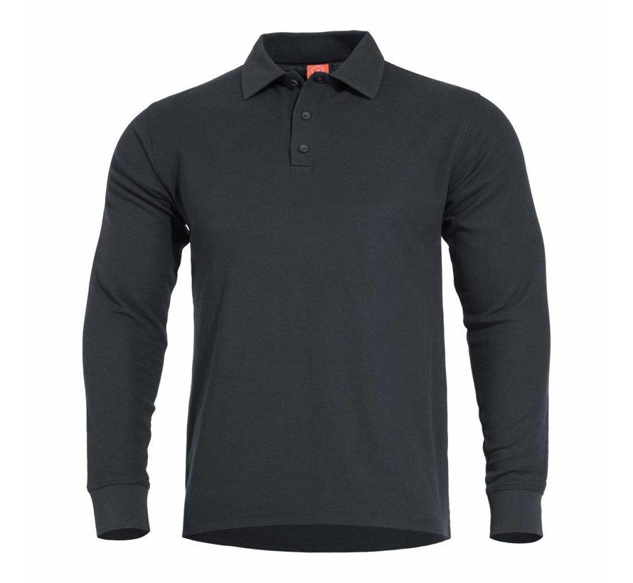 Aniketos Polo Long Sleeve Shirt (Black)