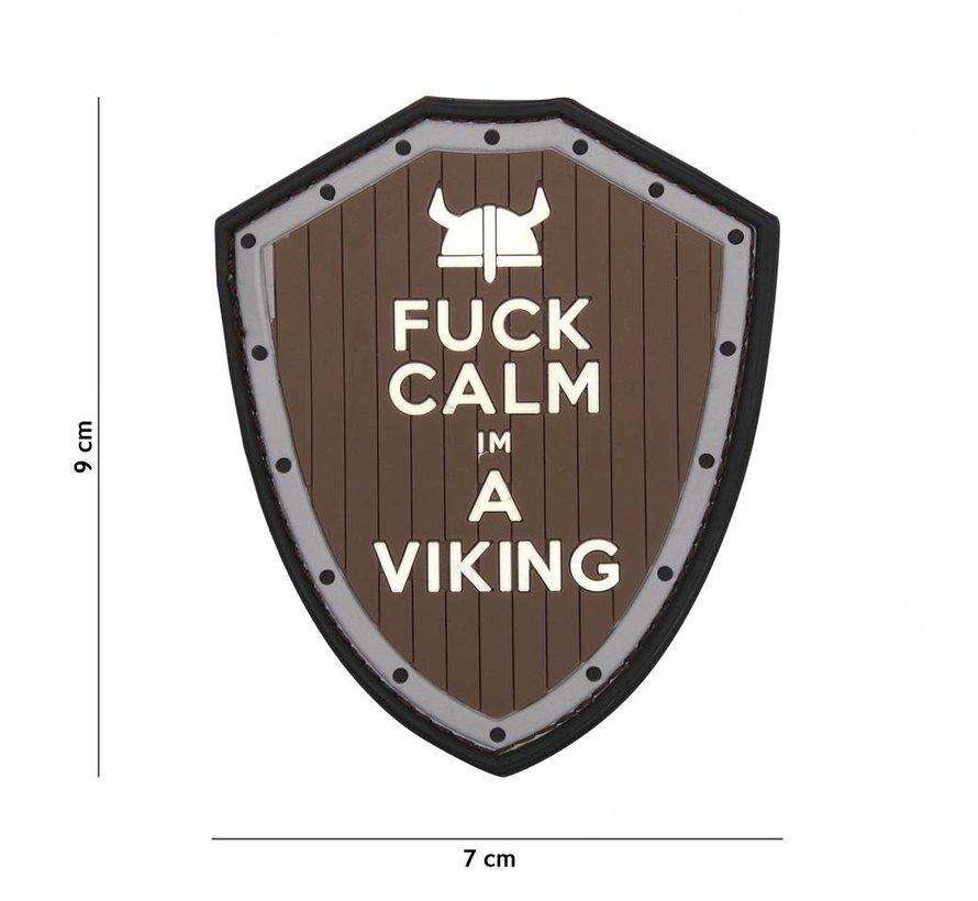 Fuck Calm Viking PVC Patch (Brown/Grey)