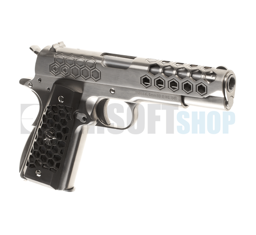 WE M1911 Hex Cut Full Metal GBB (Silver)
