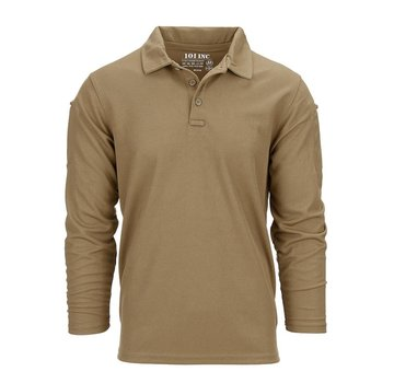 101 Inc Tactical Polo Quick Dry Long Sleeve (Coyote)