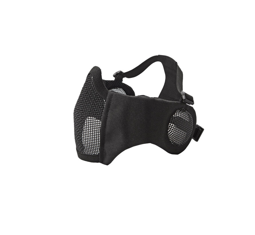 Nylon / Mesh Face Mask With Ear Protection (Black)