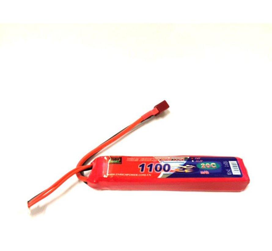 LiPo 7.4V 1100mAh 20C Stick Type (Deans)
