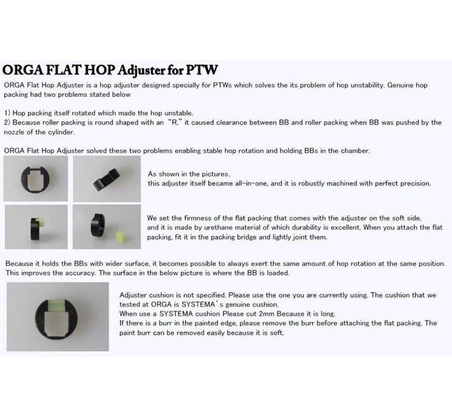 PTW Flat Hop Adjuster + 2 Flat Packing