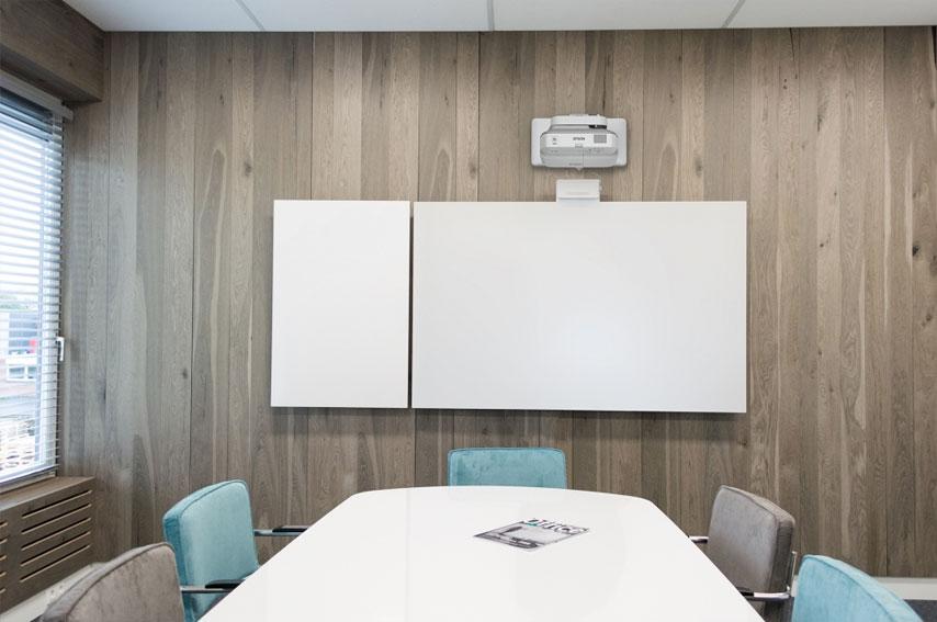 Middelgrote videoconferencing ruimte met beamer