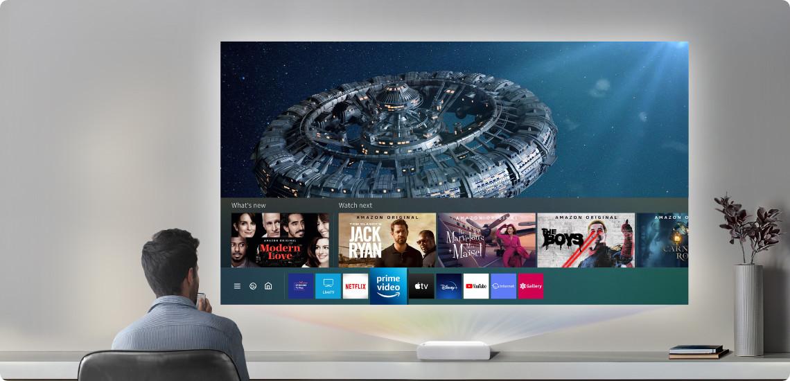 Televisie kijken met een beamer